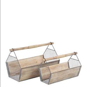 NEW uma | wooden rustic caddy set of 2